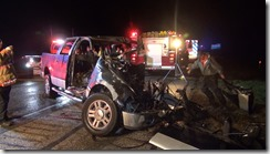 Two people are dead following a fiery crash on I-45 near the